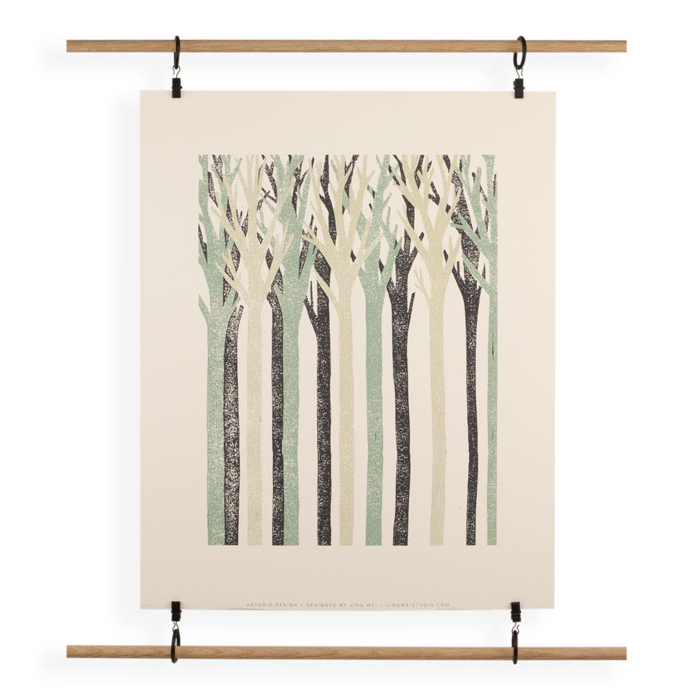 'Trees' Screenprint by Jing Wei