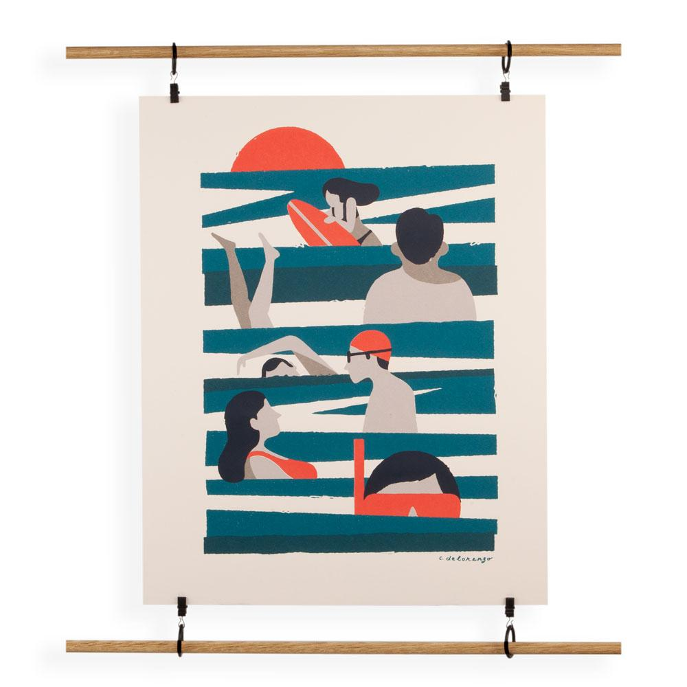 'Swimmers in the Surf' Screenprint by Christopher DeLorenzo
