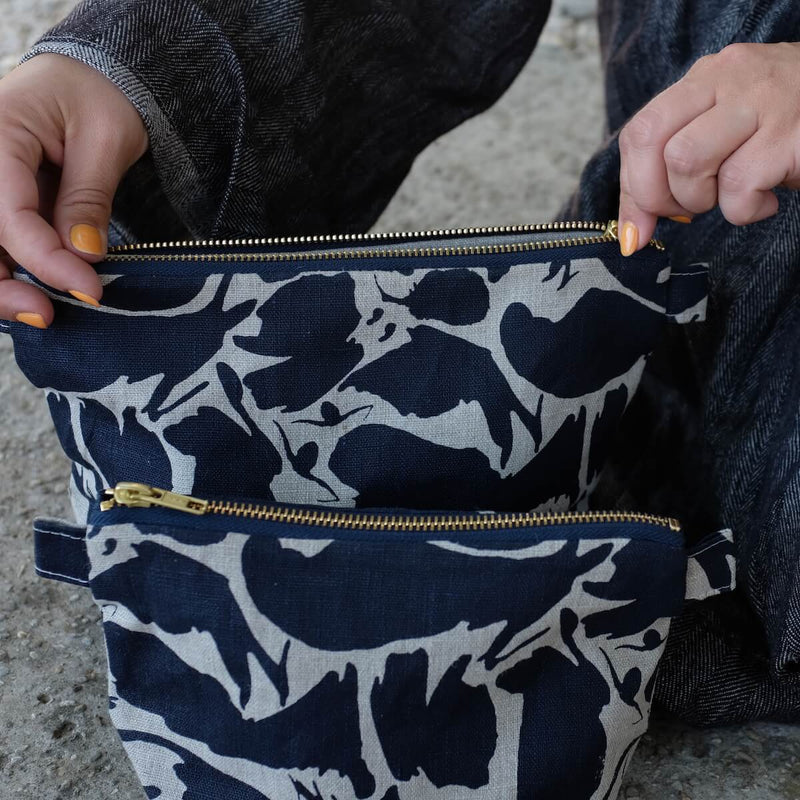 'Creatures' Navy Large Wash Bag