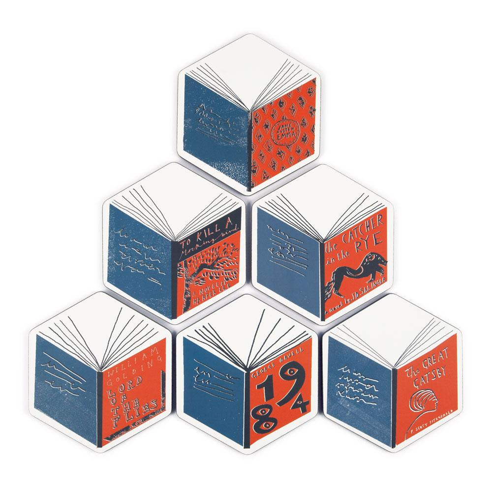 'Isometric Books' Coaster Set by Katy Welsh