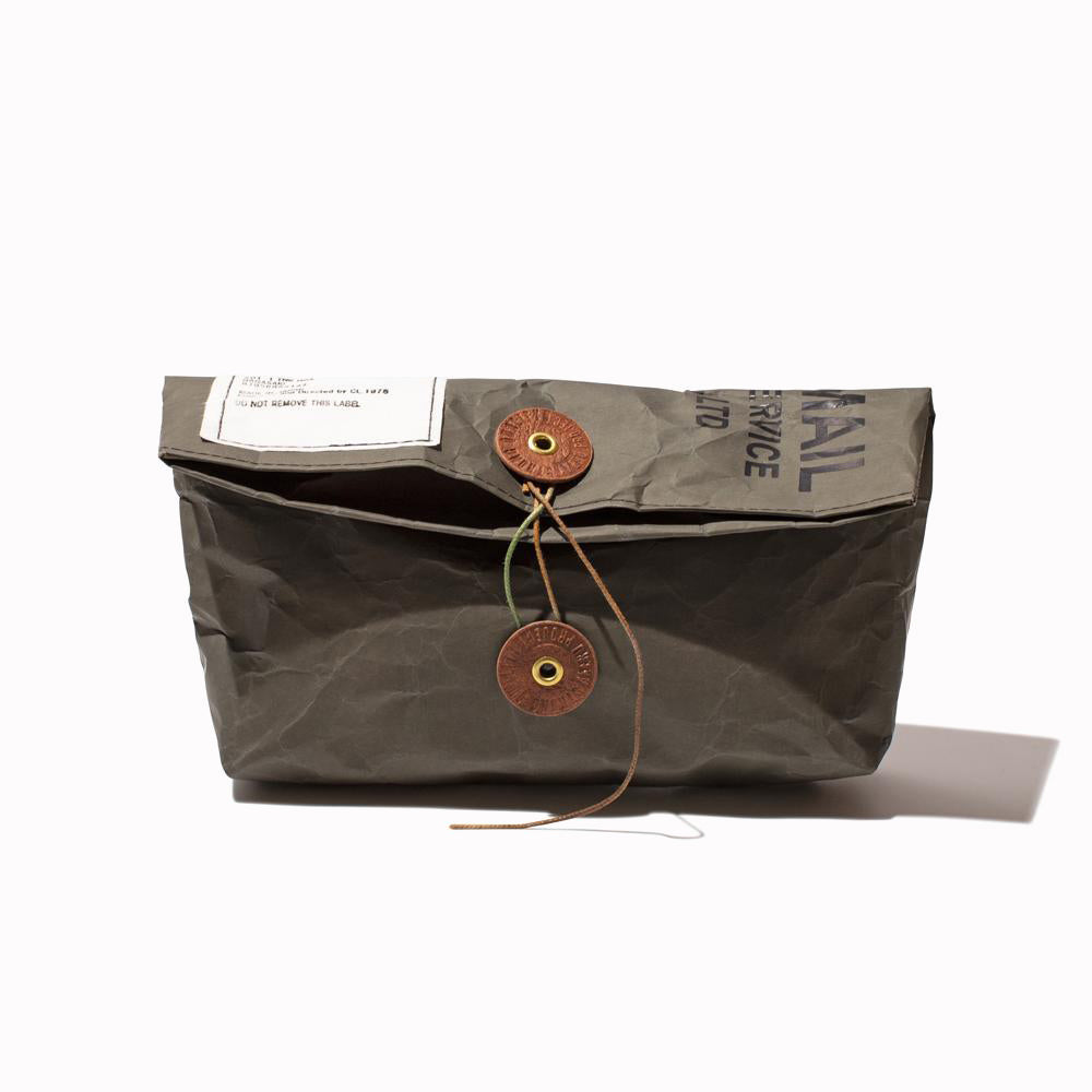 'Paper Bag' Khaki Clutch Bag