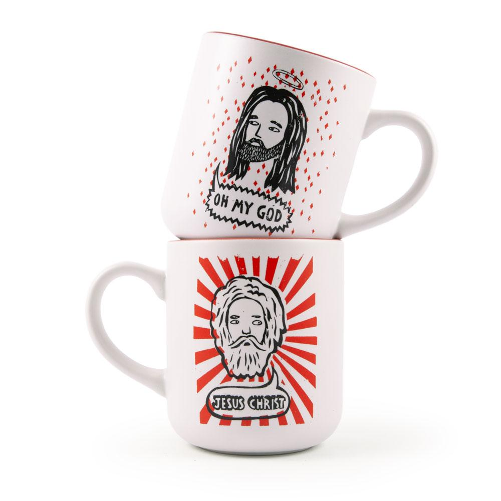 'Oh My God / Jesus Christ' Mug Set by Paul Bower