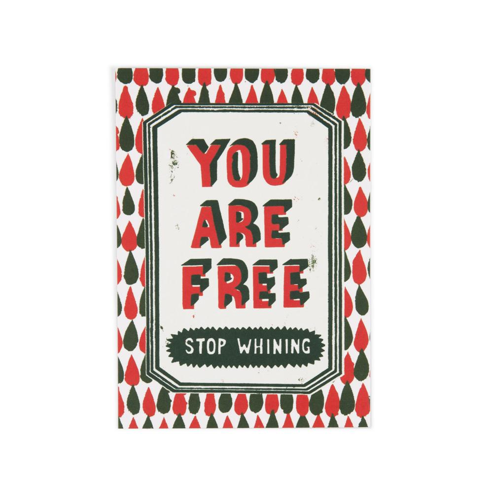 'You Are Free' Postcard by Paul Bower