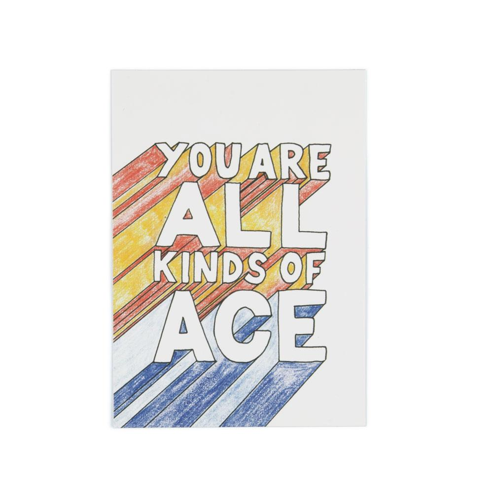 'All Kinds Of Ace' Postcard by Jasmine Hortop