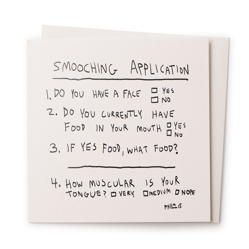 'Smooching Application' Card