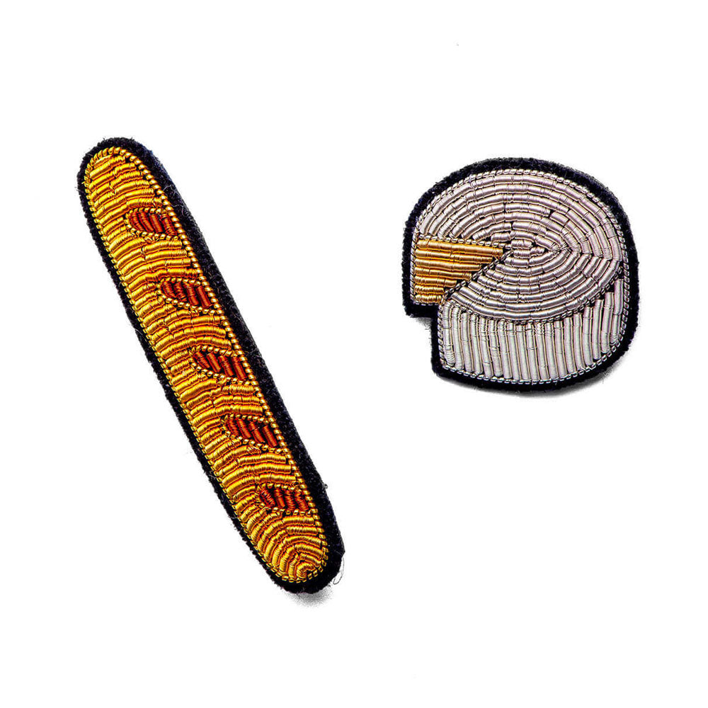 'Baguette & Camembert' Hand Embroidered Lapel Pin Set
