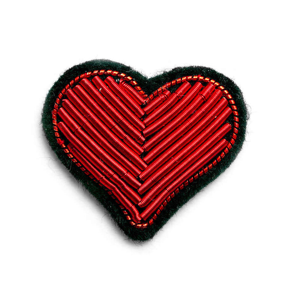 'Red Heart' Hand Embroidered Lapel Pin
