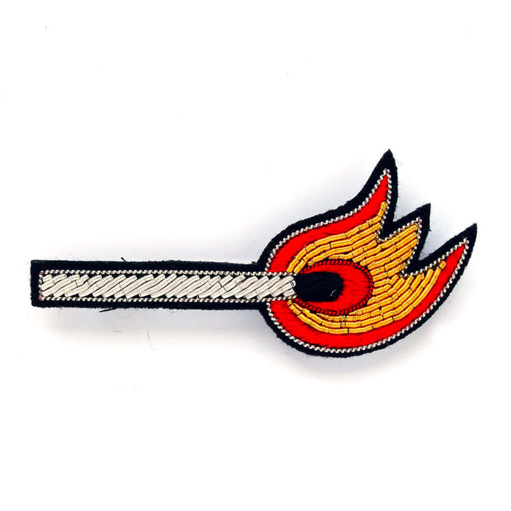 'Lit Match' Hand Embroidered Lapel Pin