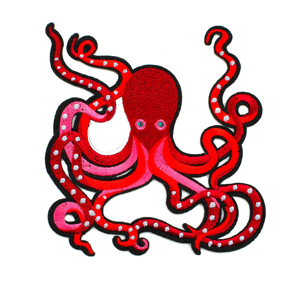 'Red Octopus' Iron-On Patch