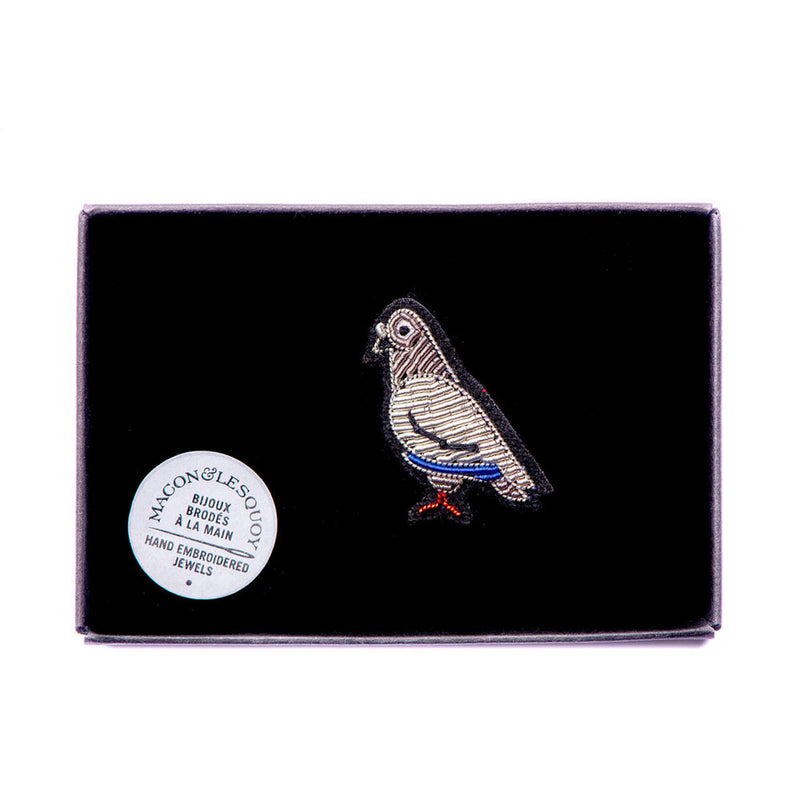 'Pigeon' Hand Embroidered Lapel Pin