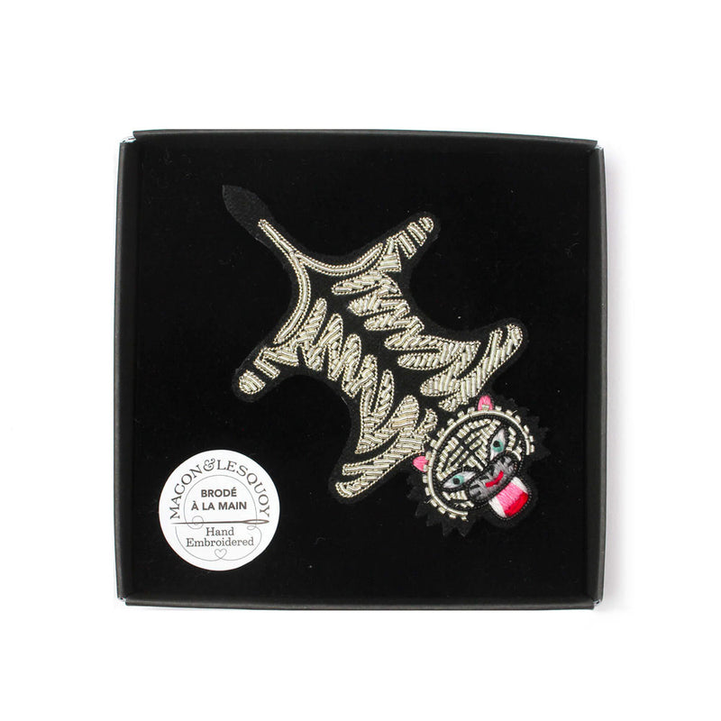 'Tiger Skin' Hand Embroidered Lapel Pin