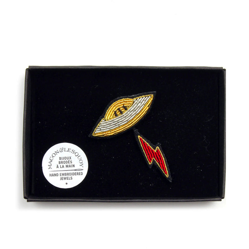 'UFO' Hand Embroidered Lapel Pin