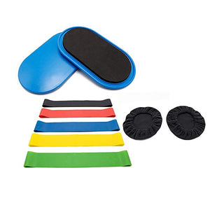 RUNACC Workout Sliders with Anti-slip Feet Covers and 5 Resistance Bands