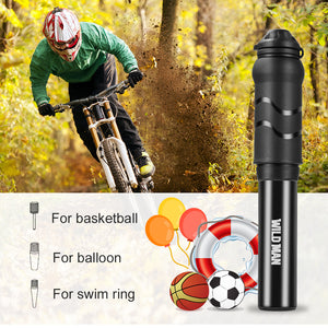 RUNACC Mini Bike Pump Portable Bicycle Tire Air Pump Durable Cycling Inflator, Suitable for Schrader Valve and Presta Valve, Black