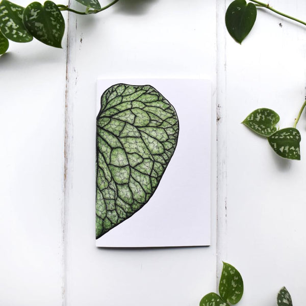 Hosta Leaf Botanical Recycled A6 Notebook