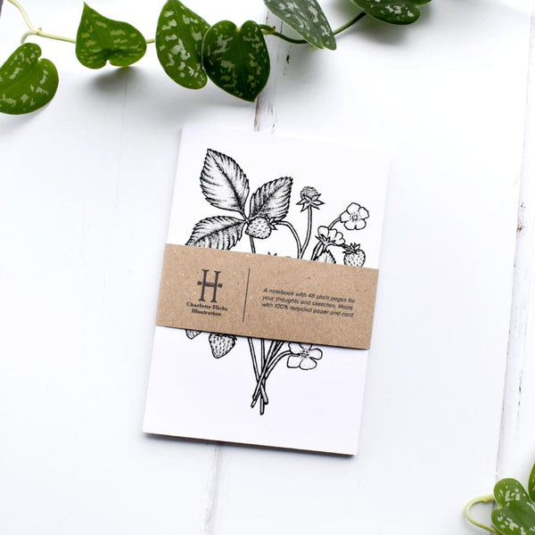 Strawberry Plant Botanical Stationery Recycled A6 Notebook