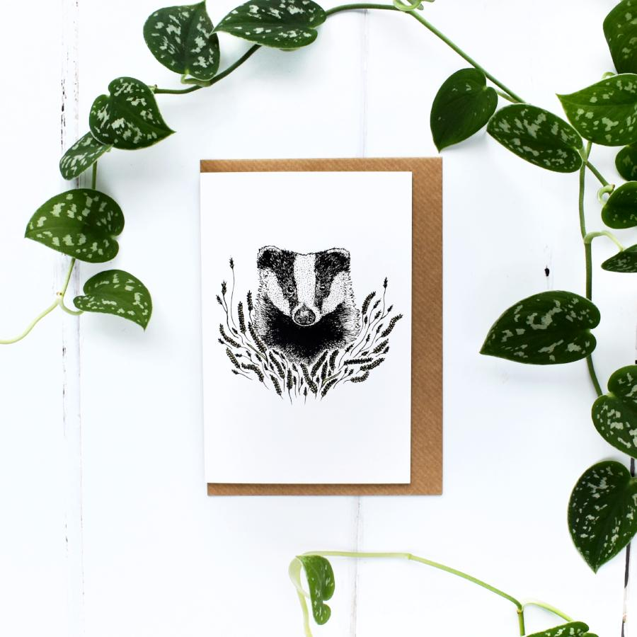 Badger A6 Greeting Card, Blank Inside