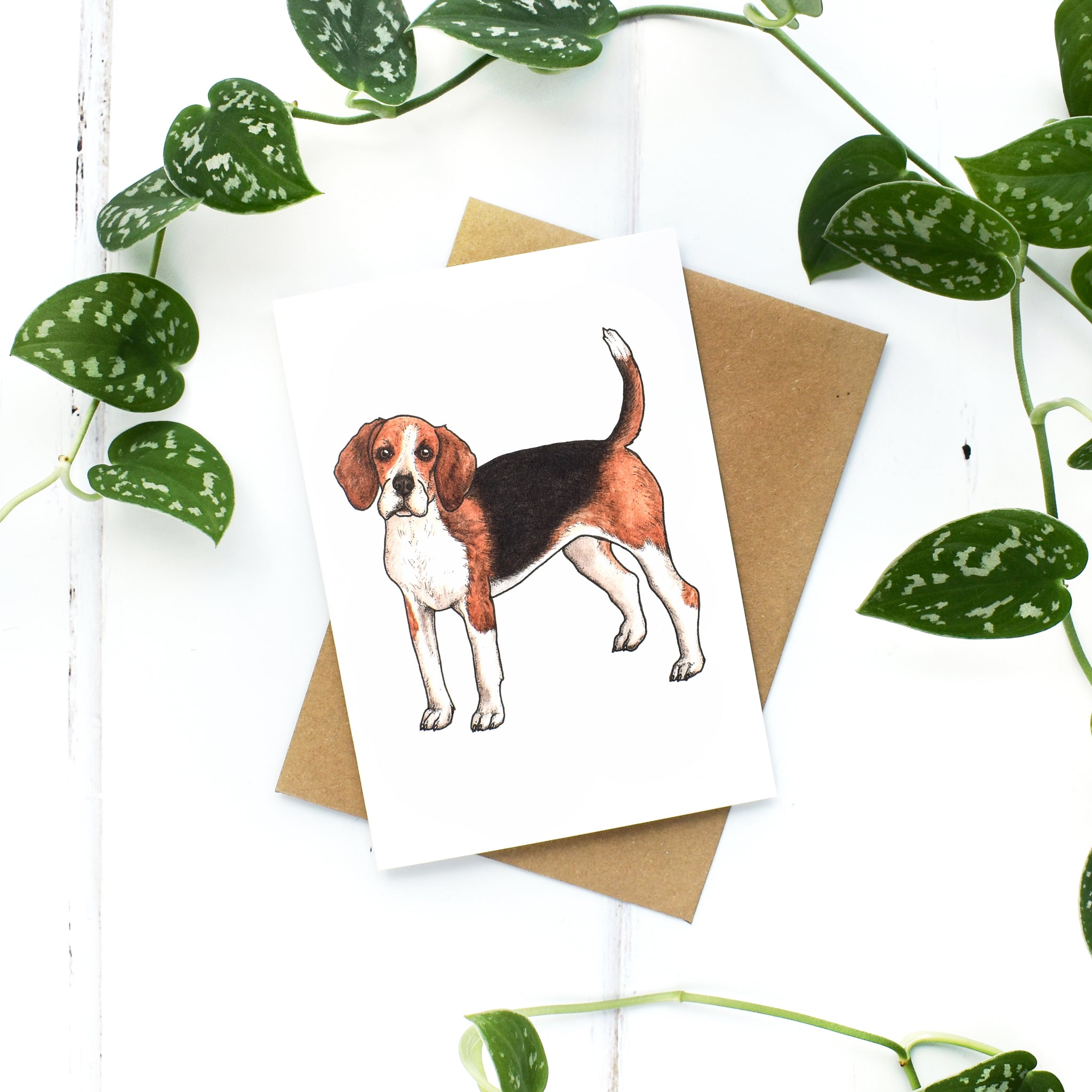 Beagle A6 Greeting Card, Blank Inside