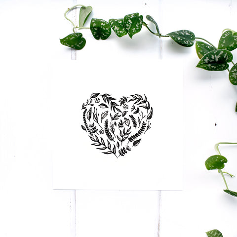 Floral Heart Print in Black and White
