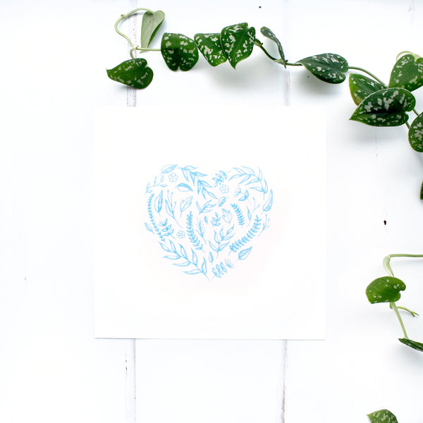 Floral Heart Print in Blue