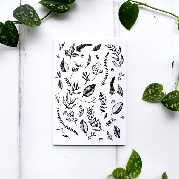 Botanical Leaf Pattern Black and White Recycled A6 Notebook
