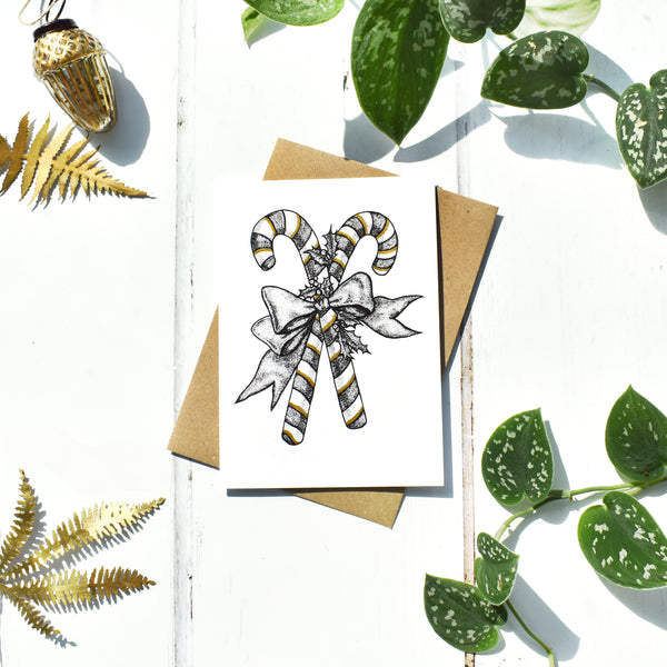 Black and White with Gold Ink Christmas Card Set of 6