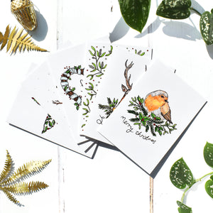 Colourful Christmas Cards Set of 6