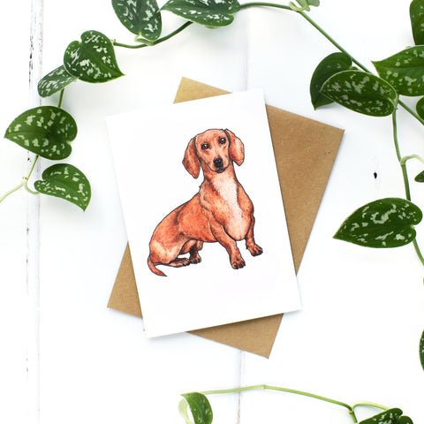 Dachshund A6 Greeting Card, Blank Inside
