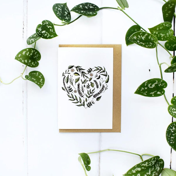 Floral Love Heart, A6 Greeting Card, Blank Inside