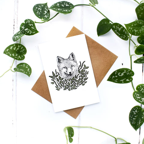 Fox A6 Greeting Card, Blank Inside