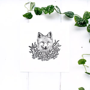 Fox and Leaves Screen Print