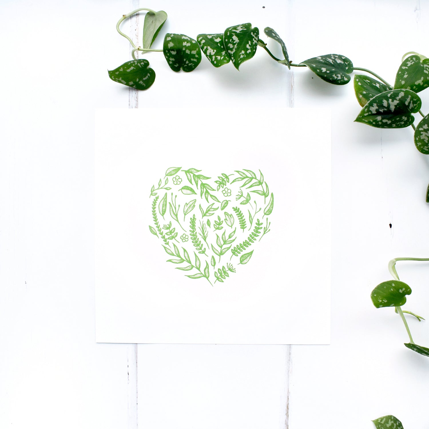 Floral Heart Print in Green