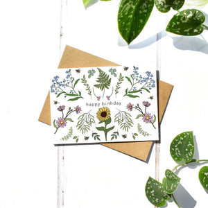 Happy Birthday Sunflower and Fern A6 Card Greeting Card, Blank Inside