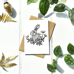 Winter Hare With Gold Seasonal Card