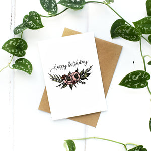 Small Floral Wreath Birthday Card, A6 Greeting Card, Blank Inside