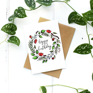 Floral Wreath Birthday Card, A6 Greeting Card, Blank Inside