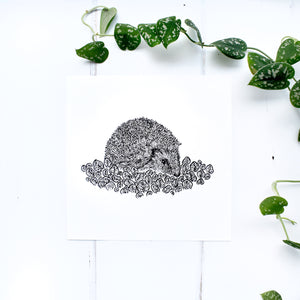 Hedgehog with Spring Leaves Screen Print