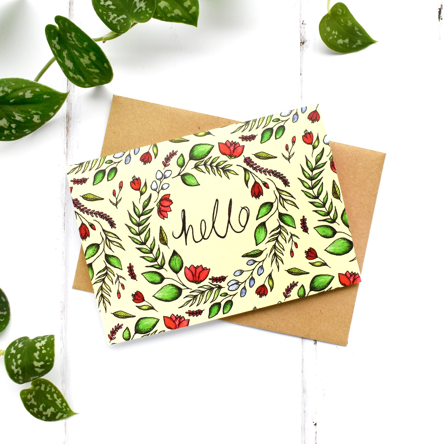 Hello Botanical A6 Greeting Card