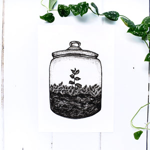 Terrarium Jar A5 Screen Print
