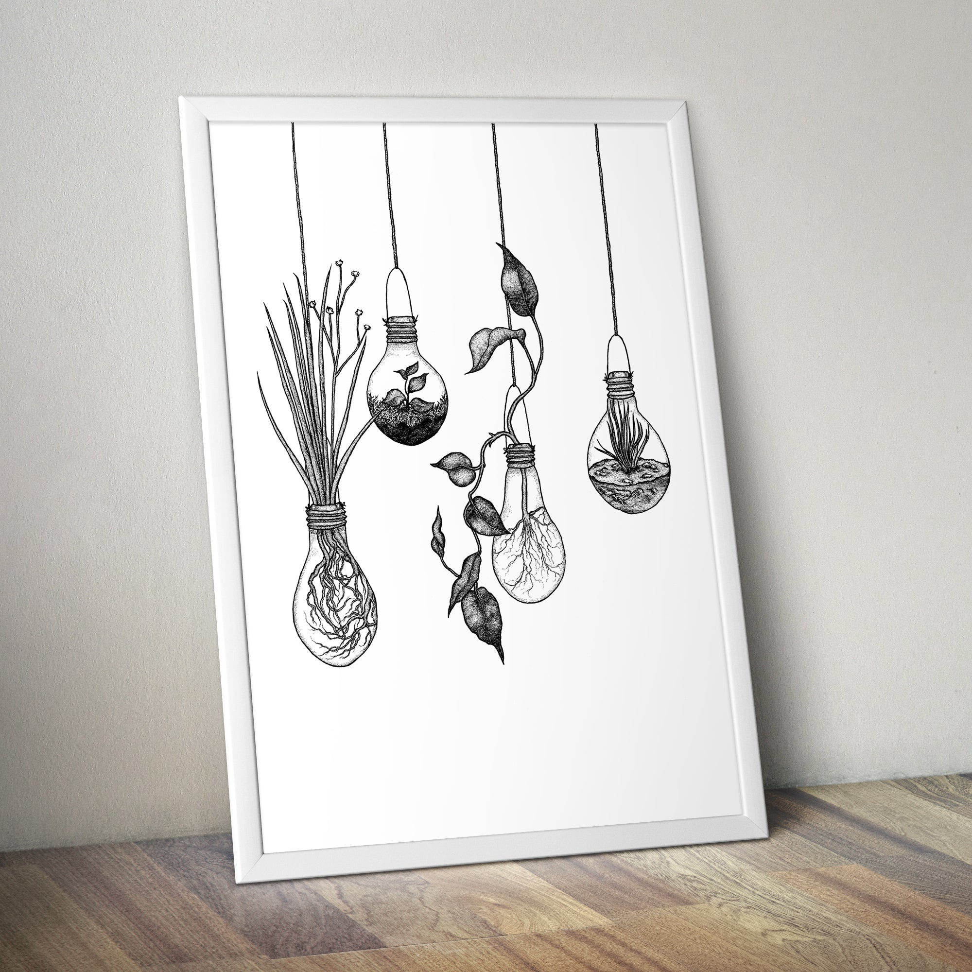 Botanical Light Bulb Terrariums A2 Screen Print