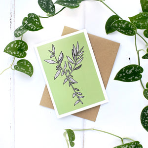 Olive A6 Greeting Card, Blank Inside