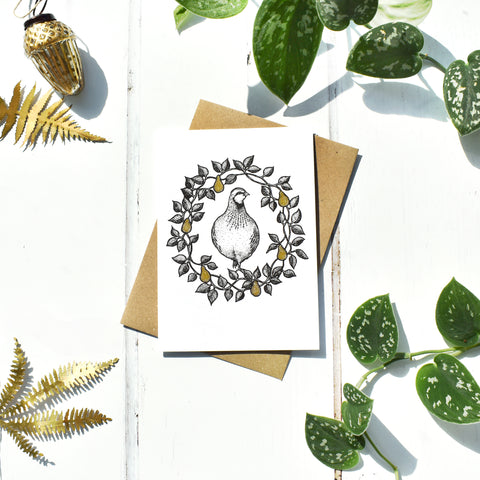 Partridge in a Pear Tree With Gold Seasonal Card