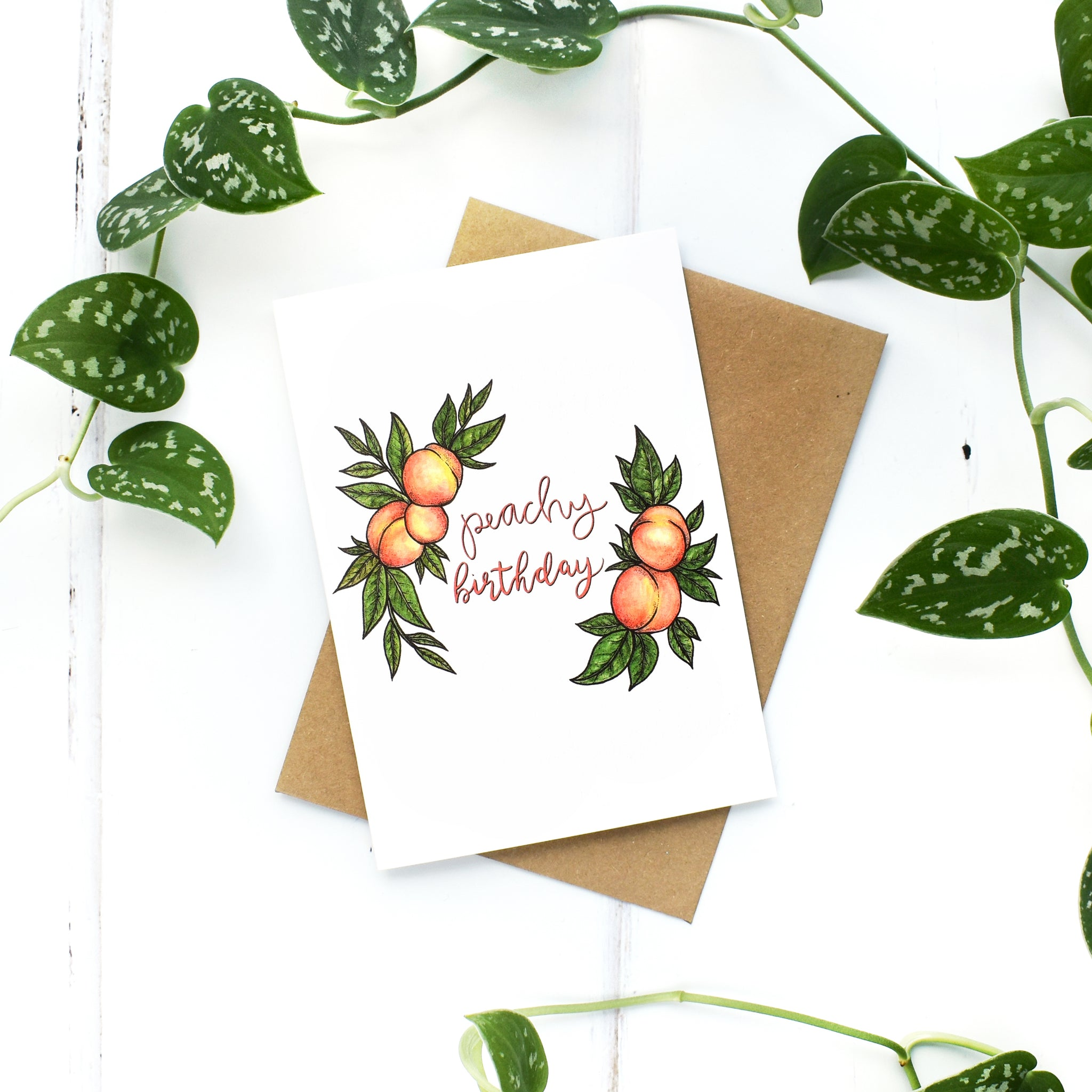 Peachy Birthday A6 Greeting Card, Blank Inside