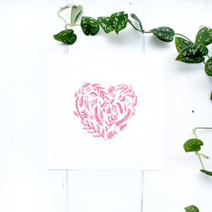 Floral Heart Print in Pink