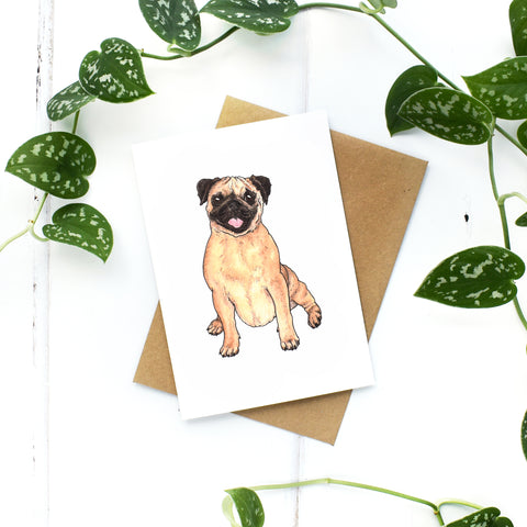 Pug A6 Greeting Card, Blank Inside