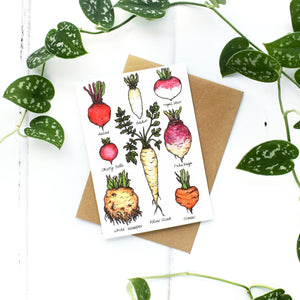 Root Vegetables A6 Greeting Card, Blank Inside