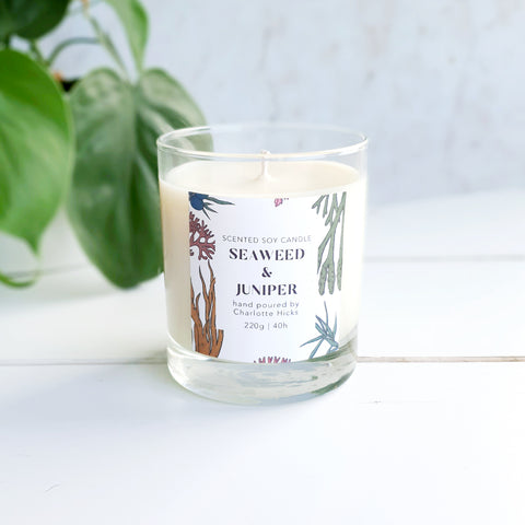 Seaweed and Juniper Scented Soy Candle