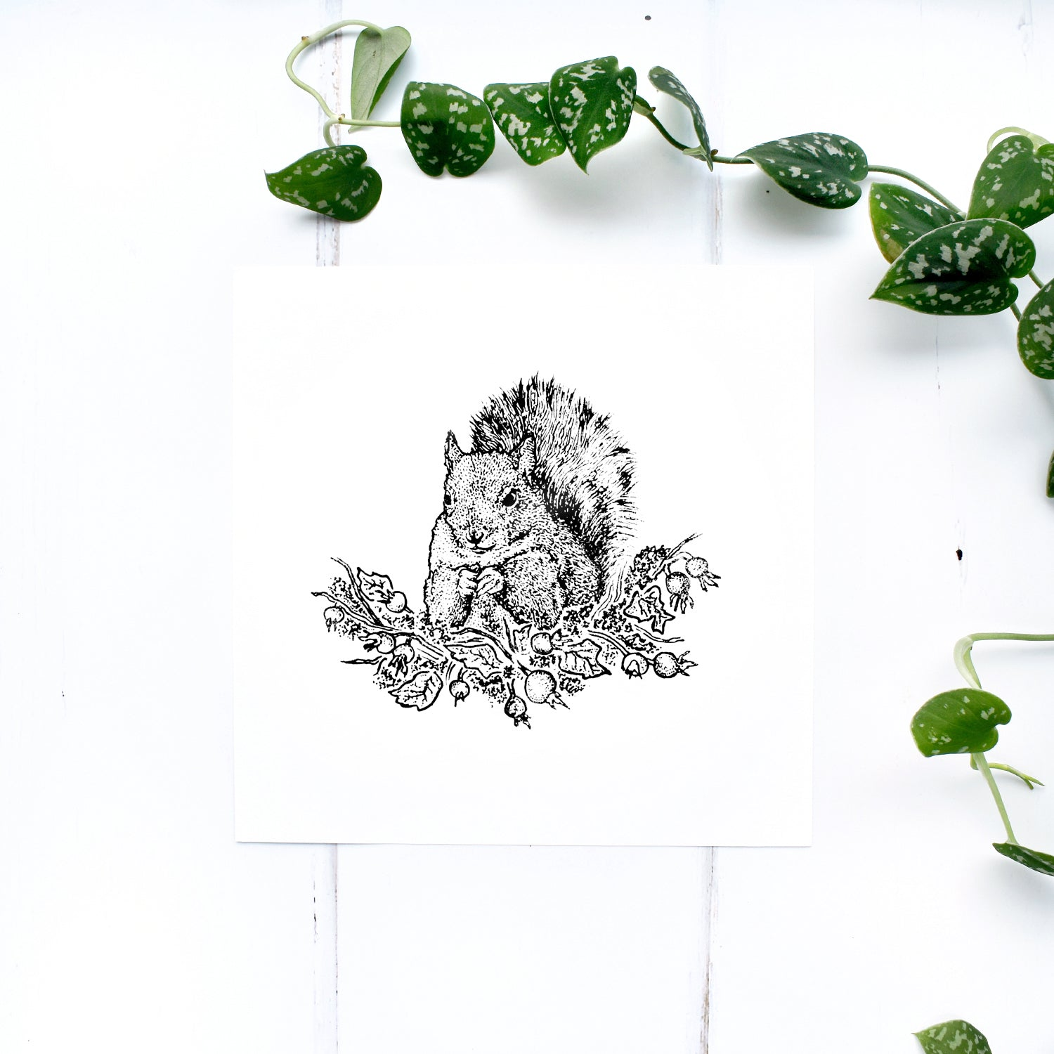 Squirrel with Autumn Leaves and Rose Hip Screen Print