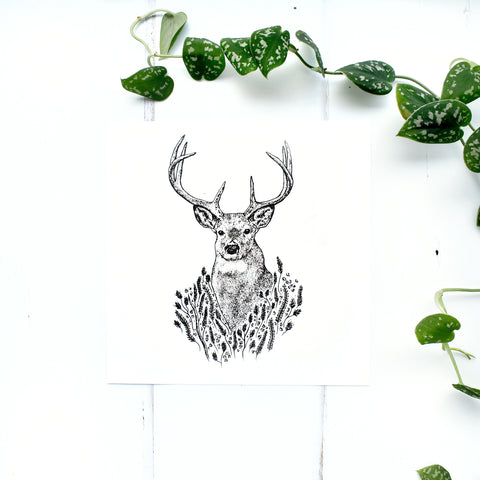 Stag and Wild Grass Screen Print