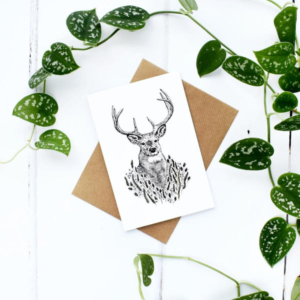 Stag A6 Greeting Card, Blank Inside